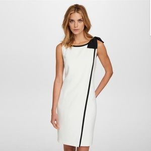 Karl Lagerfeld White Bias Bow Trim Dress